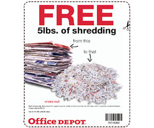 office depot coupon valid for free 5lbs of shredding