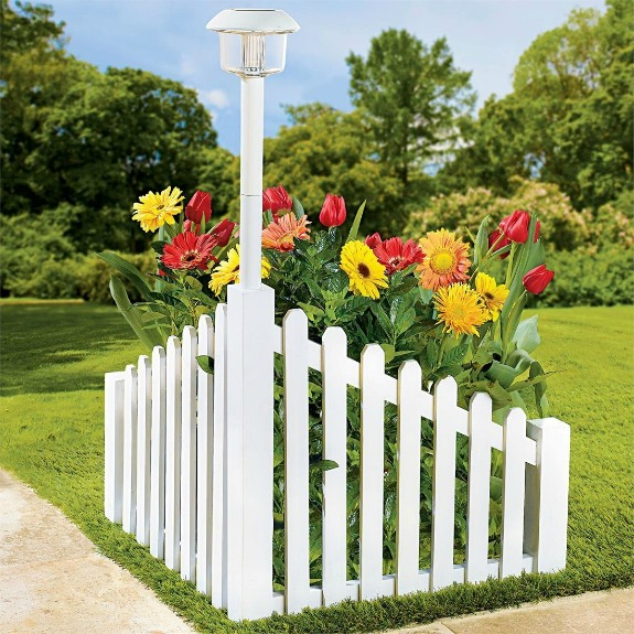 White Wood Corner Fence With Solar Powered Light