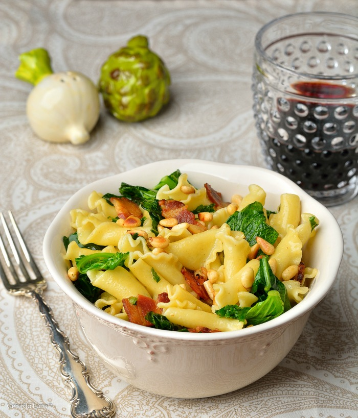 Easy Campanelle with Greens and Pancetta