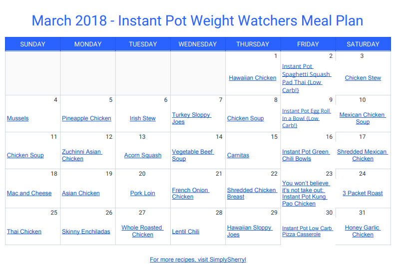 March Instant Pot Meal Plan